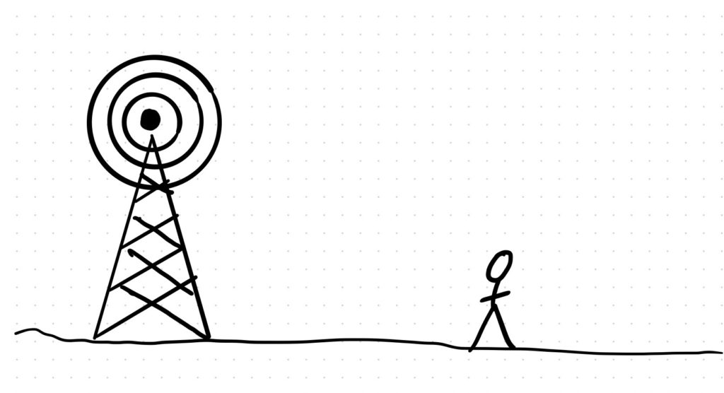 A stick figure stood next to a radio transmitter